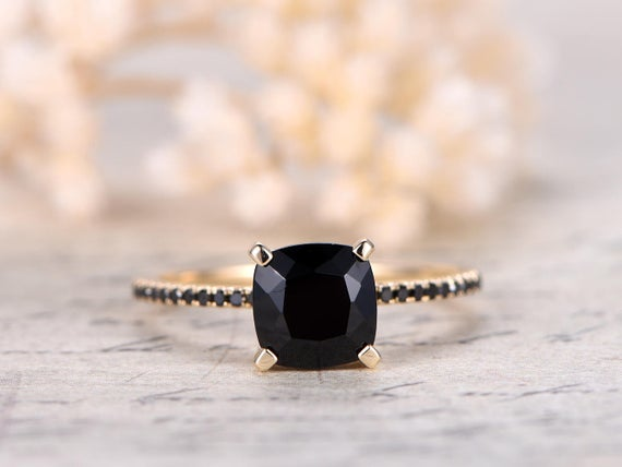 Black Spinel Ring Solid 14k Yellow Gold Engagement Ring Si-h 0.14ct South African Diamond Ring Deco Wedding Promise Ring Black Diamond Band