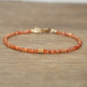 Sunstone Bracelet, Sunstone Jewelry, Vermeil Beads, Gemstone Bracelet, Gifts for her | Natural genuine Sunstone bracelets. Buy crystal jewelry, handmade handcrafted artisan jewelry for women.  Unique handmade gift ideas. #jewelry #beadedbracelets #beadedjewelry #gift #shopping #handmadejewelry #fashion #style #product #bracelets #affiliate #ad