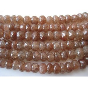 Shop Sunstone Faceted Beads! Sunstone Beads, Faceted Rondelle Beads, 9mm Beads, 37 Pieces Approx, 9 Inch Half Strand, Wholesale Price | Natural genuine faceted Sunstone beads for beading and jewelry making.  #jewelry #beads #beadedjewelry #diyjewelry #jewelrymaking #beadstore #beading #affiliate #ad