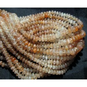 Shop Sunstone Rondelle Beads! Sunstone Beads, Plain Rondelle Beads, 6mm Beads, 80 Pieces Approx, 14 Inch Strand, Wholesale Price | Natural genuine rondelle Sunstone beads for beading and jewelry making.  #jewelry #beads #beadedjewelry #diyjewelry #jewelrymaking #beadstore #beading #affiliate #ad