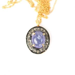 Shop Tanzanite Jewelry! Tanzanite And Diamond Necklace, Purple Gemstone Pendant, Tanzanite Pendant With Diamonds, Pave Diamond Necklace, The Perfect Gift For Mom | Natural genuine Tanzanite jewelry. Buy crystal jewelry, handmade handcrafted artisan jewelry for women.  Unique handmade gift ideas. #jewelry #beadedjewelry #beadedjewelry #gift #shopping #handmadejewelry #fashion #style #product #jewelry #affiliate #ad