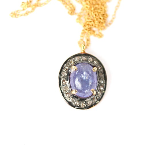 Tanzanite And Diamond Necklace, Purple Gemstone Pendant, Tanzanite Pendant With Diamonds, Pave Diamond Necklace, The Perfect Gift For Mom
