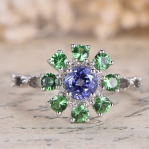 Shop Tanzanite Rings! VS natural Tanzanite Engagement Ring 14K White Gold Tsavorite Wedding Band Anniversary Ring Deco Floral Tanzanite Ring Vintage Women Ring | Natural genuine Tanzanite rings, simple unique alternative gemstone engagement rings. #rings #jewelry #bridal #wedding #jewelryaccessories #engagementrings #weddingideas #affiliate #ad