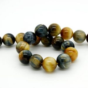 Shop Tiger Eye Round Beads! Natural Golden Blue Tiger Eye Tiger's Eye Smooth Round Ball Sphere Loose Gemstone Beads Size:6mm/ 8mm/ 10mm/ 12mm 15.5''Long per Strand | Natural genuine round Tiger Eye beads for beading and jewelry making.  #jewelry #beads #beadedjewelry #diyjewelry #jewelrymaking #beadstore #beading #affiliate #ad