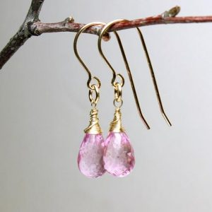 Shop Topaz Earrings! Pink Topaz Gold Filled Earrings wire wrapped natural rose pink gemstone simple minimalist artisan dangles February birthstone gift 5282   Natural genuine Topaz earrings. Buy crystal jewelry, handmade handcrafted artisan jewelry for women.  Unique handmade gift ideas. #jewelry #beadedearrings #beadedjewelry #gift #shopping #handmadejewelry #fashion #style #product #earrings #affiliate #ad