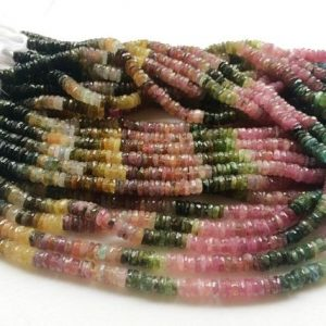 Shop Tourmaline Faceted Beads! 5.5mm Multi Tourmaline Faceted Tyre Beads, Tourmaline Spacer Beads, Multi Tourmaline For Necklace (6.5IN To 13In Options) – AGA47 | Natural genuine faceted Tourmaline beads for beading and jewelry making.  #jewelry #beads #beadedjewelry #diyjewelry #jewelrymaking #beadstore #beading #affiliate #ad