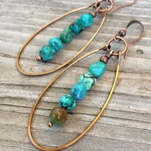 Shop Turquoise Earrings! Genuine Turquoise Earrings, Hammered Copper Hoop Earrings, Natural Turquoise Stone Jewelry | Natural genuine Turquoise earrings. Buy crystal jewelry, handmade handcrafted artisan jewelry for women.  Unique handmade gift ideas. #jewelry #beadedearrings #beadedjewelry #gift #shopping #handmadejewelry #fashion #style #product #earrings #affiliate #ad