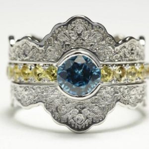 Stacking Gold Wedding Ring Set, blue Zircon Engagement Ring With Yellow Sapphires, natural Zircon Lace Wedding Ring Set, alternative Engagement | Natural genuine Gemstone rings, simple unique alternative gemstone engagement rings. #rings #jewelry #bridal #wedding #jewelryaccessories #engagementrings #weddingideas #affiliate #ad