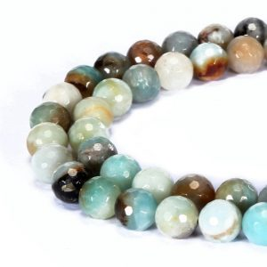 "Shop Amazonite Faceted Beads! Multi Amazonite Faceted Round Beads 4mm 6mm 8mm 10mm 12mm 14mm 16mm 15.5"" Strand 