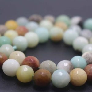 Shop Amazonite Faceted Beads! Natural 128 Faceted Amazonite Round Beads,4mm/6mm/8mm/10mm/12mm Gemstone Beads Supply,15 inches one starand | Natural genuine faceted Amazonite beads for beading and jewelry making.  #jewelry #beads #beadedjewelry #diyjewelry #jewelrymaking #beadstore #beading #affiliate #ad