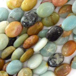 "Shop Amazonite Bead Shapes! 16mm multicolor blue amazonite flat oval beads 16"" strand 40095 