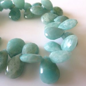 Shop Amazonite Bead Shapes! Faceted Blue Green Amazonite Pear Shaped Briolette Beads, Natural Amazonite Gemstone Beads, 14mm Beads, 7.5 Inch Strand, Gds721 | Natural genuine other-shape Amazonite beads for beading and jewelry making.  #jewelry #beads #beadedjewelry #diyjewelry #jewelrymaking #beadstore #beading #affiliate #ad