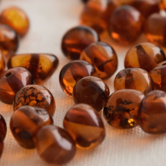 Natural Baltic Amber Nugget Baroque Style Beads - 30 Loose Amber Beads - 4mm - 7mm - Cherry / Cognac / Honey / Lemon / Milk Colour