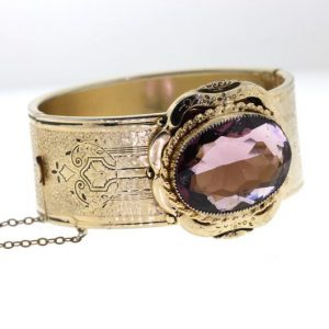 Shop Amethyst Bracelets! Victorian Revival Hinged Bangle, Vintage Amethyst Gold Filled Bracelet, Art Deco 1930s Bracelet | Natural genuine Amethyst bracelets. Buy crystal jewelry, handmade handcrafted artisan jewelry for women.  Unique handmade gift ideas. #jewelry #beadedbracelets #beadedjewelry #gift #shopping #handmadejewelry #fashion #style #product #bracelets #affiliate #ad