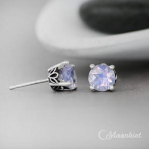Lavender Moon Amethyst Quartz Earrings, Sterling Silver Amethyst Stud Earrings, Lilac Color Earrings | Moonkist Designs | Natural genuine Amethyst earrings. Buy crystal jewelry, handmade handcrafted artisan jewelry for women.  Unique handmade gift ideas. #jewelry #beadedearrings #beadedjewelry #gift #shopping #handmadejewelry #fashion #style #product #earrings #affiliate #ad