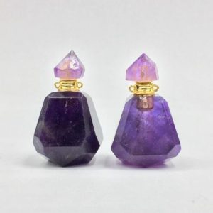 Shop Amethyst Faceted Beads! Faceted Amethyst Perfume Bottle Essential Oil Diffuser Bottle Amethyst Quartz Perfume Bottle Necklace Pendant Charm Gemstone  Scent Bottle | Natural genuine faceted Amethyst beads for beading and jewelry making.  #jewelry #beads #beadedjewelry #diyjewelry #jewelrymaking #beadstore #beading #affiliate #ad