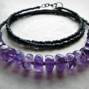 Shop Amethyst Necklaces! Dainty Purple Amethyst Necklace, beaded Bohemian style February birthstone jewelry in black and purple | Natural genuine Amethyst necklaces. Buy crystal jewelry, handmade handcrafted artisan jewelry for women.  Unique handmade gift ideas. #jewelry #beadednecklaces #beadedjewelry #gift #shopping #handmadejewelry #fashion #style #product #necklaces #affiliate #ad