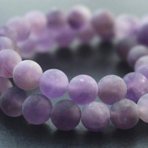 Shop Amethyst Round Beads! Matte Amethyst Quartz Round Beads, 6mm / 8mm / 10mm Amethyst Quartz Beads, 15 Inches One Starand | Natural genuine round Amethyst beads for beading and jewelry making.  #jewelry #beads #beadedjewelry #diyjewelry #jewelrymaking #beadstore #beading #affiliate #ad