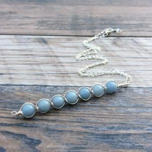 Shop Angelite Necklaces! Angelite Necklace, Third Eye Chakra, Sterling Or 14k Gold Filled | Natural genuine Angelite necklaces. Buy crystal jewelry, handmade handcrafted artisan jewelry for women.  Unique handmade gift ideas. #jewelry #beadednecklaces #beadedjewelry #gift #shopping #handmadejewelry #fashion #style #product #necklaces #affiliate #ad