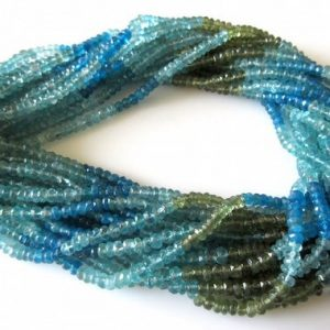 Shop Apatite Faceted Beads! Natural Blue Apatite Green Apatite Rondelle Beads, 4.5mm Faceted Rondelles, Multi Color Apatite Beads, 13.5 Inch Strand, SKU-2643 | Natural genuine faceted Apatite beads for beading and jewelry making.  #jewelry #beads #beadedjewelry #diyjewelry #jewelrymaking #beadstore #beading #affiliate #ad