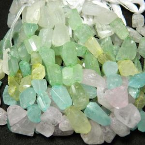 Shop Aquamarine Chip & Nugget Beads! Aquamarine Tumble Beads, Aquamarine Nugget Beads, Step Cut Tumbles, 14mm To 19mm Each, 9 Inch Strand | Natural genuine chip Aquamarine beads for beading and jewelry making.  #jewelry #beads #beadedjewelry #diyjewelry #jewelrymaking #beadstore #beading #affiliate #ad