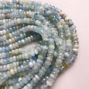 "Natural Aquamarine Faceted Rondelle Size 4x6mm 5x8mm 6x10mm 7x12mm 15.5"" Strand 