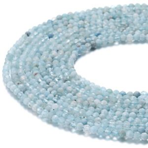 "Natural Aquamarine Faceted Round Size 2mm 3mm 4mm 15.5"" Strand 