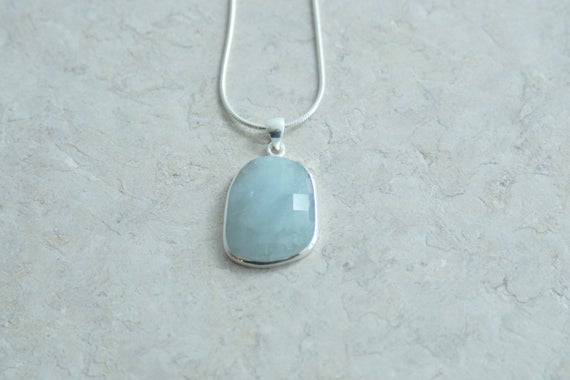 Aquamarine Sterling Silver Pendant // Aquamarine Faceted Sterling Silver Pendant //  Natural Aquamarine Pendant And Sterling // March Stone