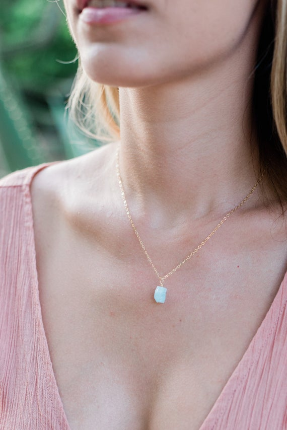 "Tiny Raw Blue Aquamarine Gemstone Pendant Necklace In Gold, Silver, Bronze Or Rose Gold - 2"" Adjustable Extender - March Birthstone Necklace"