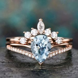 Shop Aquamarine Rings! 2pc Aquamarine Engagement Ring Set Rose Gold Diamond Ring Split Shank Moissanite Band Vintage Stack Crown Wedding Bridal Promise Ring Set | Natural genuine Aquamarine rings, simple unique alternative gemstone engagement rings. #rings #jewelry #bridal #wedding #jewelryaccessories #engagementrings #weddingideas #affiliate #ad