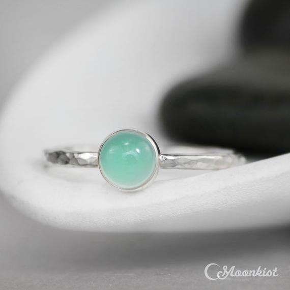 Dainty Aquamarine Promise Ring, Sterling Silver Aqua Gemstone Ring, Simple Aquamarine Engagement Ring, Aqua Stacking Ring | Moonkist Designs