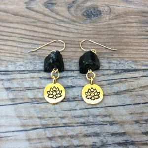 Shop Black Tourmaline Earrings! Raw Black Tourmaline earrings, Lotus charm, yoga jewelry | Natural genuine Black Tourmaline earrings. Buy crystal jewelry, handmade handcrafted artisan jewelry for women.  Unique handmade gift ideas. #jewelry #beadedearrings #beadedjewelry #gift #shopping #handmadejewelry #fashion #style #product #earrings #affiliate #ad
