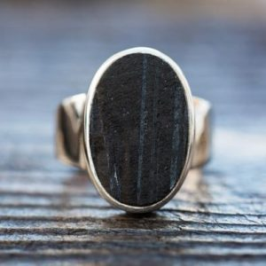 Shop Black Tourmaline Rings! Black Tourmaline Ring 14 – Raw Uncut Black Tourmaline Slice Ring –  Large Raw Black Tourmaline Ring – Raw Uncut Black Tourmaline Ring 14 | Natural genuine Black Tourmaline rings, simple unique handcrafted gemstone rings. #rings #jewelry #shopping #gift #handmade #fashion #style #affiliate #ad