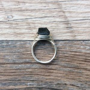 Shop Black Tourmaline Rings! Raw Black Tourmaline ring, Sterling Silver or 14k gold filled | Natural genuine Black Tourmaline rings, simple unique handcrafted gemstone rings. #rings #jewelry #shopping #gift #handmade #fashion #style #affiliate #ad
