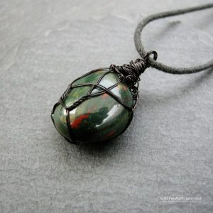 Shop Bloodstone Pendants! Bloodstone pendant, Heliotrope unisex protective necklace amulet, March Birthstone, balance and anti anxiety gemstone, men gift jewelry | Natural genuine Bloodstone pendants. Buy crystal jewelry, handmade handcrafted artisan jewelry for women.  Unique handmade gift ideas. #jewelry #beadedpendants #beadedjewelry #gift #shopping #handmadejewelry #fashion #style #product #pendants #affiliate #ad