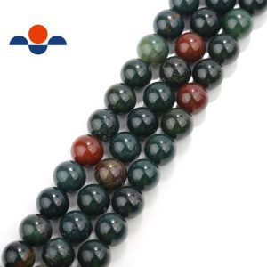 "Shop Bloodstone Beads! Natural Bloodstone Smooth Round Beads 4mm 6mm 8mm 10mm 15.5"" Strand 