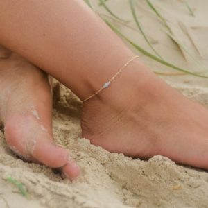 "Shop Healing Stone Bracelets! Blue lace agate dainty gemstone anklet in bronze, silver, gold or rose gold – 8"" chain with 2"" adjustable extender – Blue ankle bracelet 