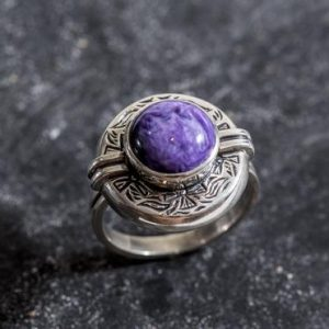 Egyptian Purple Ring, Charoite Ring, Natural Charoite, Purple Ring, Artistic Ring, Scorpio Birthstone, Vintage Rings, Solid Silver, Charoite | Natural genuine Charoite rings, simple unique handcrafted gemstone rings. #rings #jewelry #shopping #gift #handmade #fashion #style #affiliate #ad