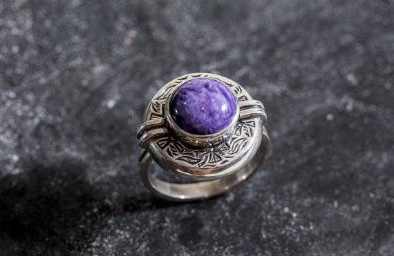 Egyptian Purple Ring, Charoite Ring, Natural Charoite, Purple Ring, Artistic Ring, Scorpio Birthstone, Vintage Rings, Solid Silver, Charoite