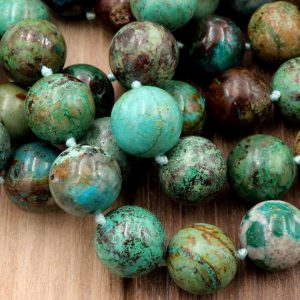 "Shop Chrysocolla Beads! Arizona Chrysocolla Round Beads High Quality Natural Green Blue Chrysocolla 16mm Highly Polished Gemstone Beads 16"" Strand 