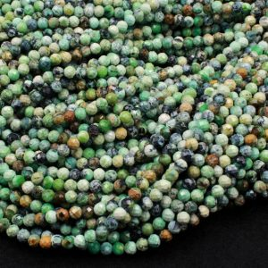 "Shop Chrysoprase Faceted Beads! Micro Faceted Natural African Chrysoprase 4mm Round Beads Laser Diamond Cut Gemstone 15.5"" Strand 