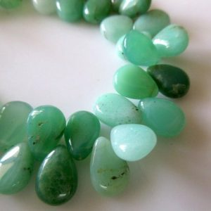 Shop Chrysoprase Bead Shapes! Uniform Size Natural Chrysoprase Smooth Pear Briolette Beads, 7 Inches Of 9x11mm Green Chrysoprase Beads, GDS751 | Natural genuine other-shape Chrysoprase beads for beading and jewelry making.  #jewelry #beads #beadedjewelry #diyjewelry #jewelrymaking #beadstore #beading #affiliate #ad