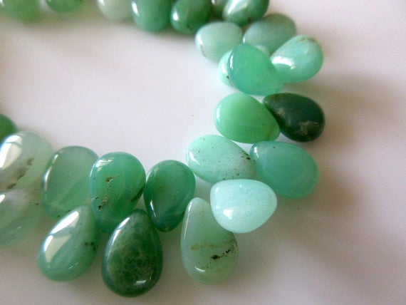 Uniform Size Natural Chrysoprase Smooth Pear Briolette Beads, 7 Inches Of 9x11mm Green Chrysoprase Beads, Gds751