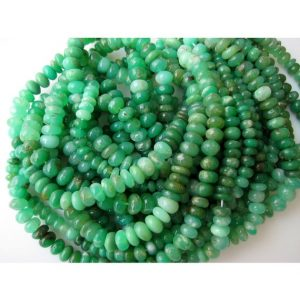 Chrysoprase Rondelle Beads, Shaded Chrysoprase Rondelle Beads, 8mm Beads, Half Strand 8 Inches, 46 Pieces | Natural genuine rondelle Chrysoprase beads for beading and jewelry making.  #jewelry #beads #beadedjewelry #diyjewelry #jewelrymaking #beadstore #beading #affiliate #ad