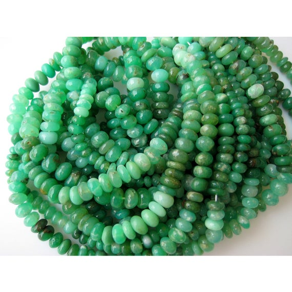 Chrysoprase Rondelle Beads, Shaded Chrysoprase Rondelle Beads, 8mm Beads, Half Strand 8 Inches, 46 Pieces