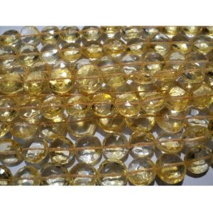 Shop Citrine Bead Shapes! NAtural Yellow Citrine Micro Faceted Coin Beads – 10mm Each – Half Strand 5 Inches – 13 Pieces Approx | Natural genuine other-shape Citrine beads for beading and jewelry making.  #jewelry #beads #beadedjewelry #diyjewelry #jewelrymaking #beadstore #beading #affiliate #ad