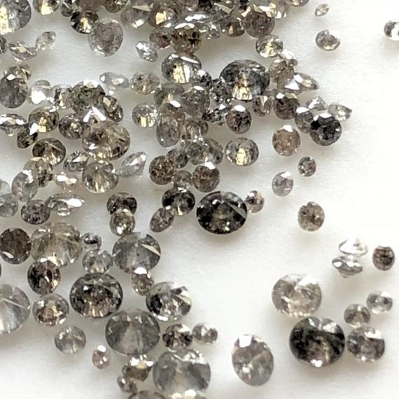 10 Pieces Tiny 1mm To 2mm/2mm To 3mm Brilliant Cut Salt And Pepper Diamond Loose, Natural Grey Black Faceted Full Cut Diamonds, Dds581/1