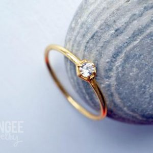 3mm Cz Gold Ring. Hexagon Gemstone Ring Gold Vermeil Dainty Ring Geometric Stacking Ring Diamond Ring   Natural genuine Gemstone rings, simple unique handcrafted gemstone rings. #rings #jewelry #shopping #gift #handmade #fashion #style #affiliate #ad