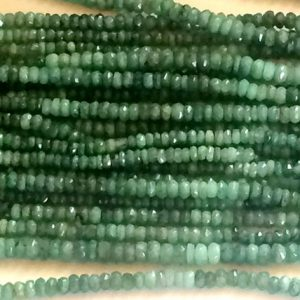 Shop Emerald Faceted Beads! 3.5-4mm Emerald Faceted Beads, Natural Emerald Faceted Rondelle Beads, 13 Inches Emerald Beads For Jewelry (1ST To 5ST Options) – ADG112 | Natural genuine faceted Emerald beads for beading and jewelry making.  #jewelry #beads #beadedjewelry #diyjewelry #jewelrymaking #beadstore #beading #affiliate #ad