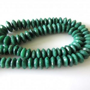 Shop Emerald Faceted Beads! Emerald Faceted Rondelle Bead, Wholesale Emerald Disc Corundum Beads, 9mm To 12mm Beads, 16 Inch Strand, GDS557 | Natural genuine faceted Emerald beads for beading and jewelry making.  #jewelry #beads #beadedjewelry #diyjewelry #jewelrymaking #beadstore #beading #affiliate #ad